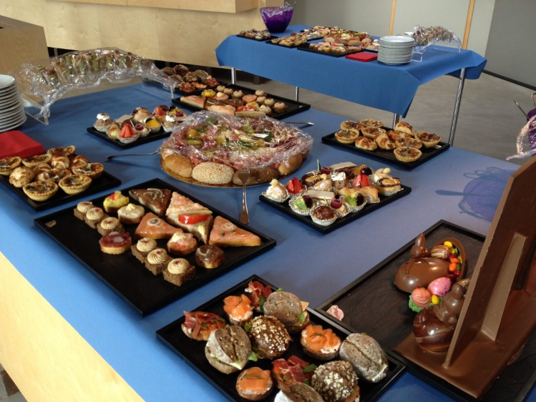 Buffet lunch for visitors: sandwiches and canapés on two tables
